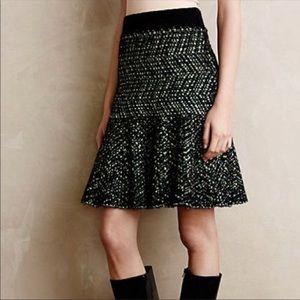 Anthropologie MOTH Pop Tweed Fit & Flare Skirt